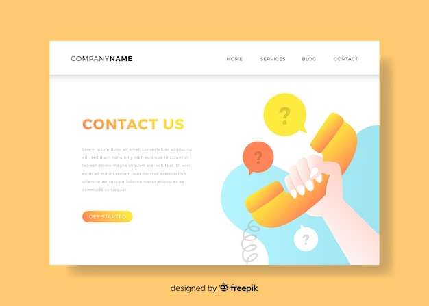 Contact us landing page with telephone Free Vector