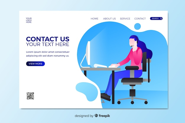Contact us landing page with woman sitting at desk Free Vector