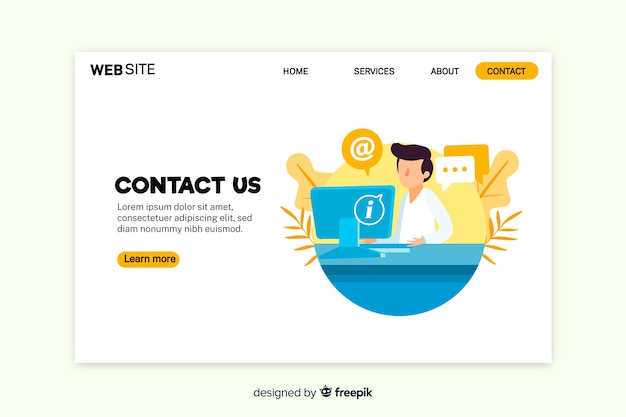 Contact us landing page with working person Free Vector