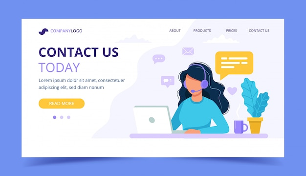 Contact us landing page. woman with headphones and microphone with computer. Premium Vector