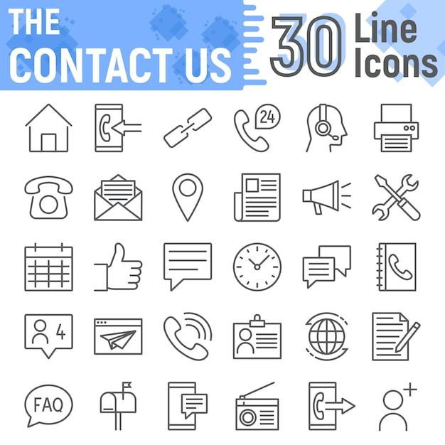 Contact us line icon set, web symbols collection Premium Vector