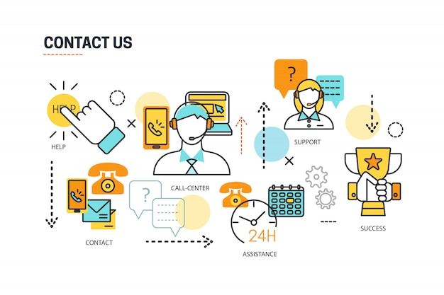 Contact us lines composition Free Vector