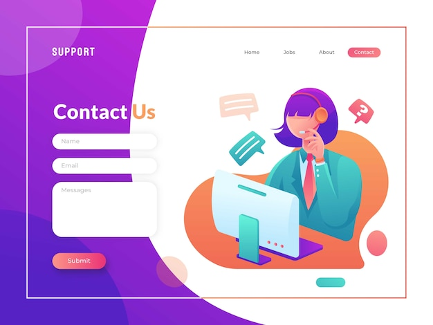 Contact us page template Premium Vector