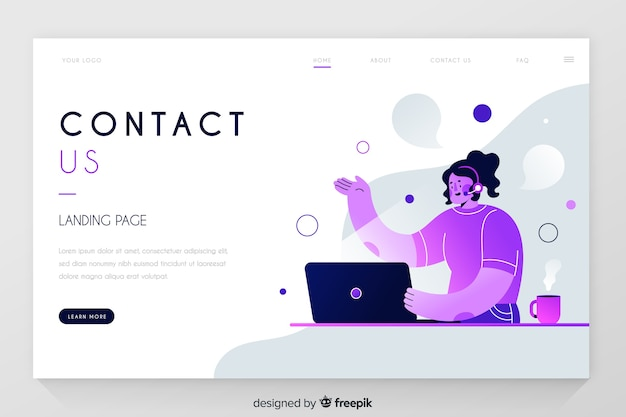 Contact us professional landing page Free Vector