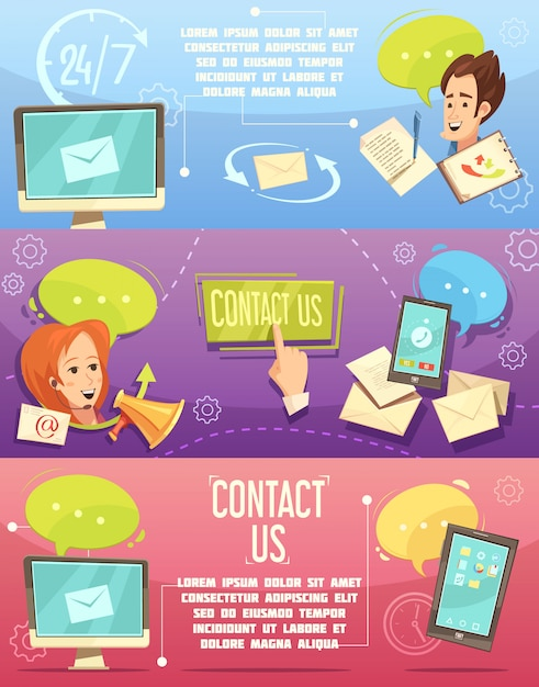 Contact us retro cartoon banners set with customer service 24h email call center Free Vector