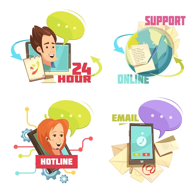 Contact us retro cartoon compositions with customer service 24 hour support online hotline email Free Vector