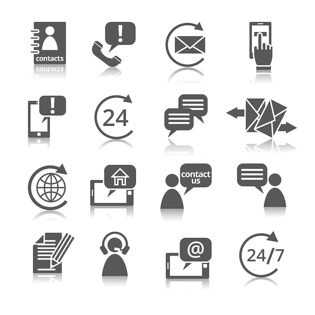 Contact us service icons Premium Vector