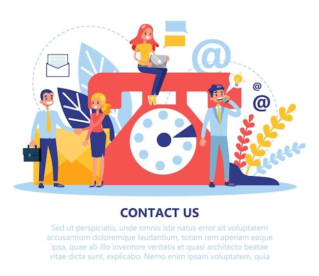 Contact us web banner. idea of customer service Premium Vector