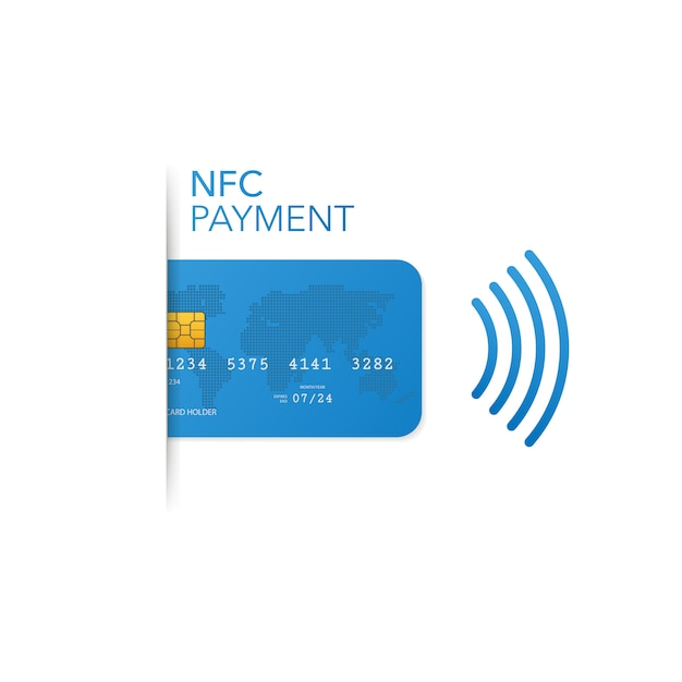 Contactless credit card with radio wave outside sign, credit card payment Premium Vector