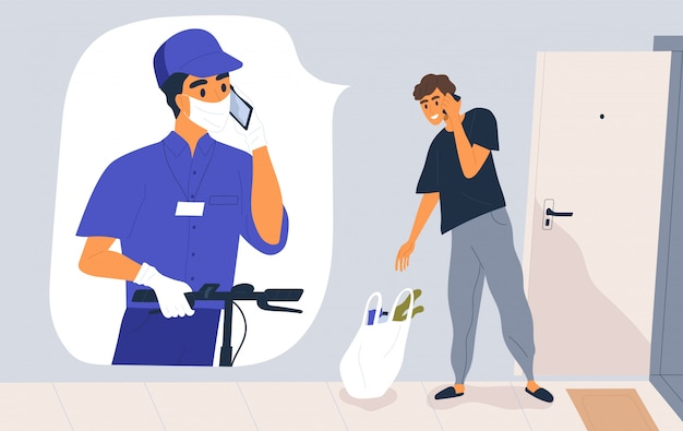 Contactless delivery service concept. courier in medical mask and gloves call the customer. man receiving grocery bag during pandemic. safe shipping. illustration in flat cartoon style Premium Vector