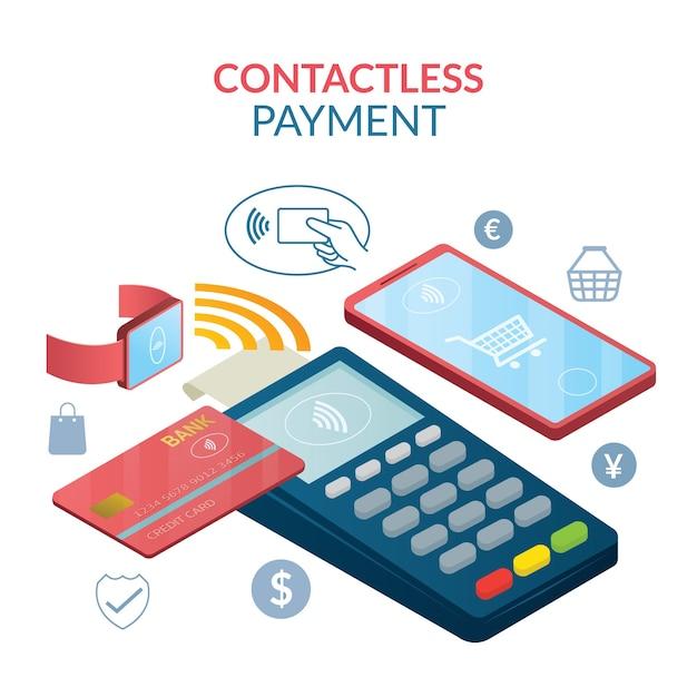 Contactless payment concept, wireless Premium Vector