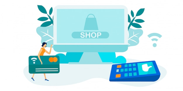 Contactless technology for money transactions Premium Vector