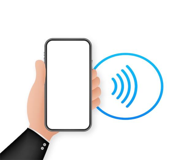 非接触型ワイヤレスペイサインアイコン。 nfcテクノロジー Premiumベクター
