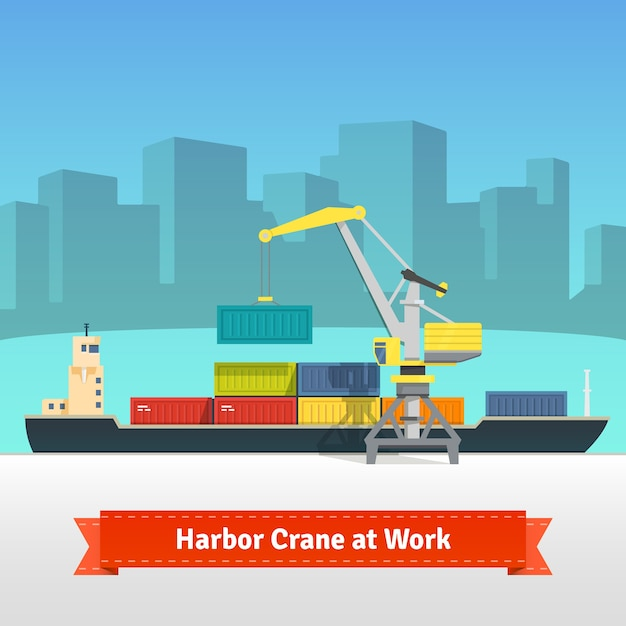Container cargo ship loaded by harbour crane Free Vector