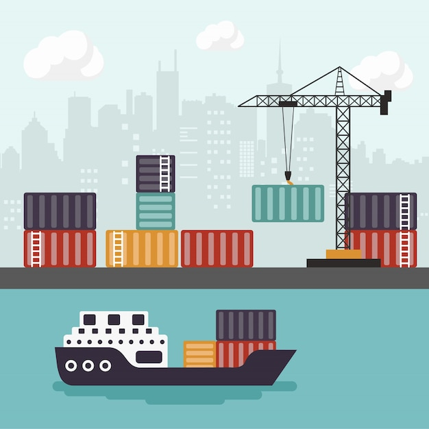 Container ship at freight port terminal unloading Free Vector