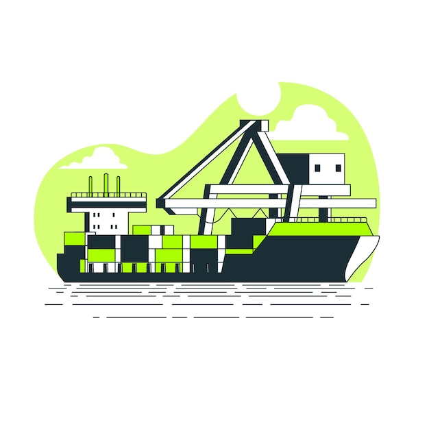 Container ship concept illustration Free Vector