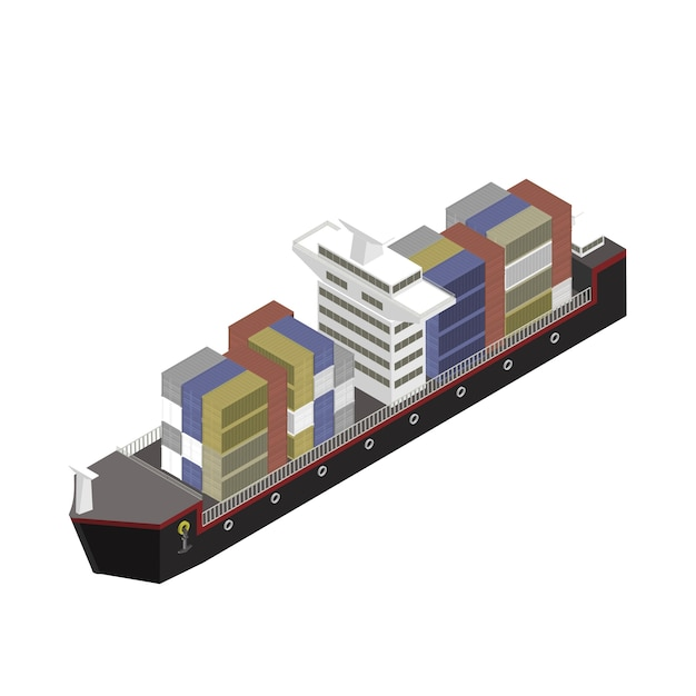Container on a ship isolated on background Free Vector