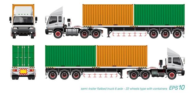 Container trailer truck Premium Vector