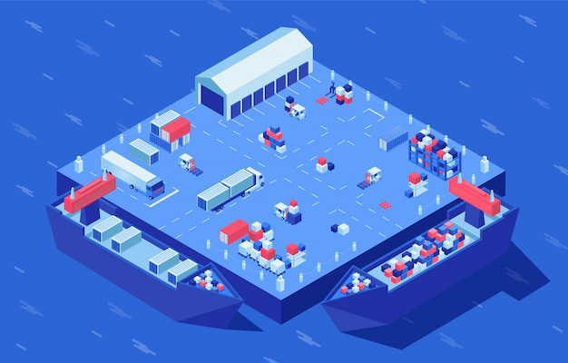 Container yard isometric vector illustration. freight transport, merchandise and industrial cargo at logistics hub. marine commerce, goods distribution and storage service, shipment delivery service Premium Vector