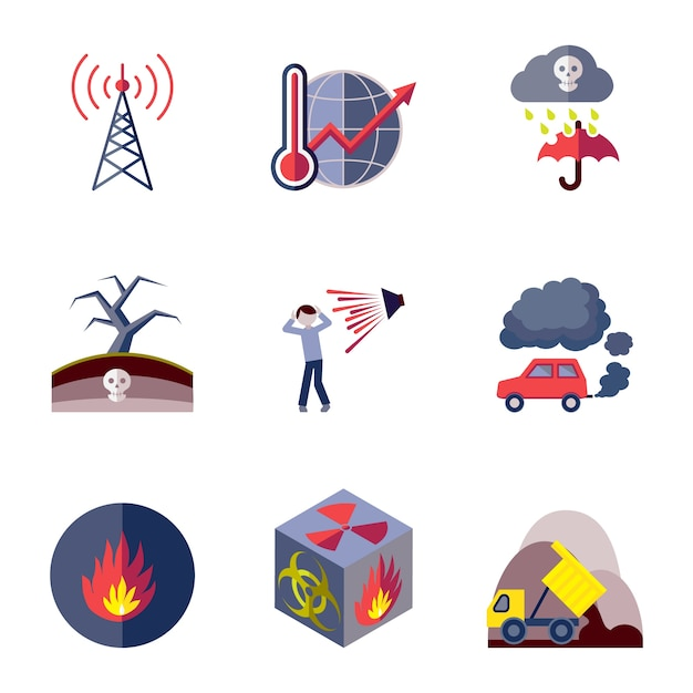 Contamination icons collection Free Vector