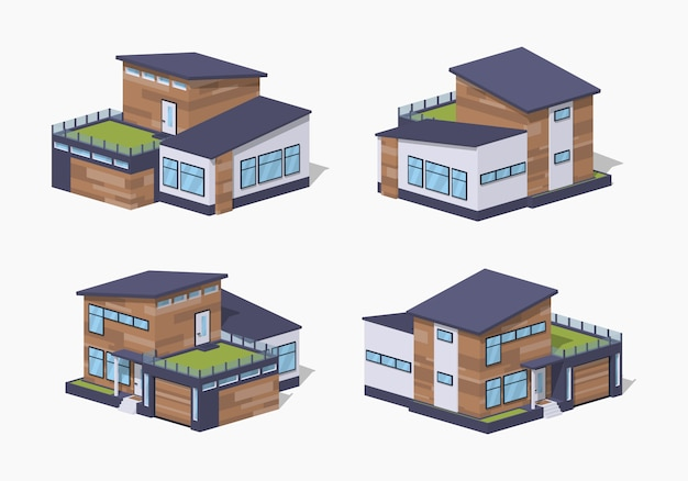 Contemporary 3d lowpoly isometric house Premium Vector