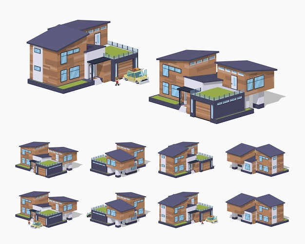 Contemporary american 3d lowpoly isometric house Premium Vector