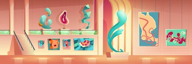 Contemporary art exhibition cartoon Free Vector