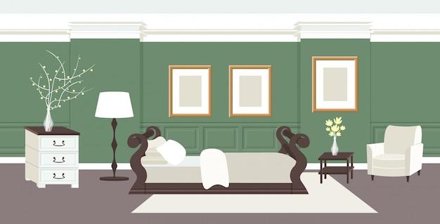 현대 침실 인테리어 빈 아니 사람 집 침대와 가구 수평 현대 아파트 거실 프리미엄 벡터