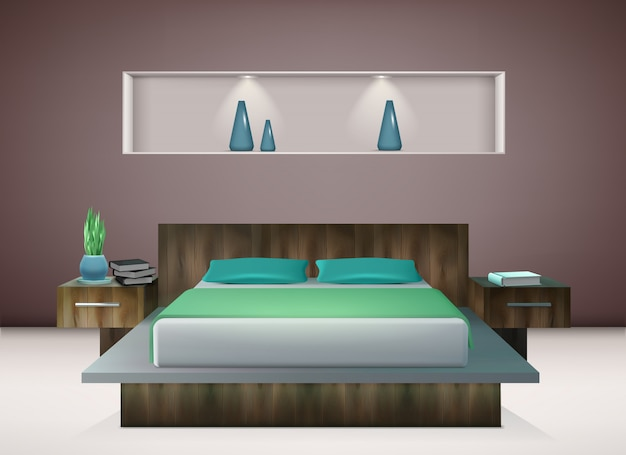 Interno contemporaneo della camera da letto con biancheria da letto in tonalità delle decorazioni murali verde smeraldo e dell'acquamarina dell'illustrazione realistica Vettore gratuito