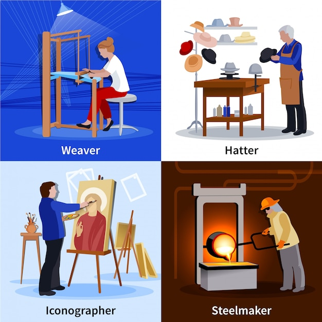 Contemporary craftspeople 4 flat icons square Free Vector