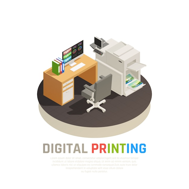 Contemporary digital printing house office software inkjet laser screen equipment designer desk rond isometric composition Free Vector