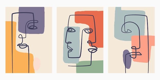 Contemporary hand drawn . continuous line, minimalistic elegant concept. Premium Vector