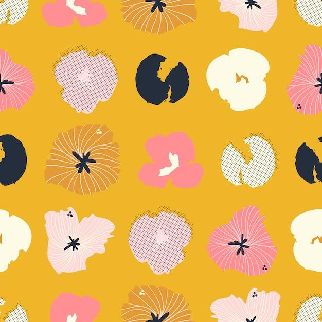 現代的な手描きのシームレスな花柄 Premiumベクター