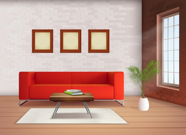 Contemporary home interior design element with red sofa accent in neutral colored living room realistic illustration Free Vector