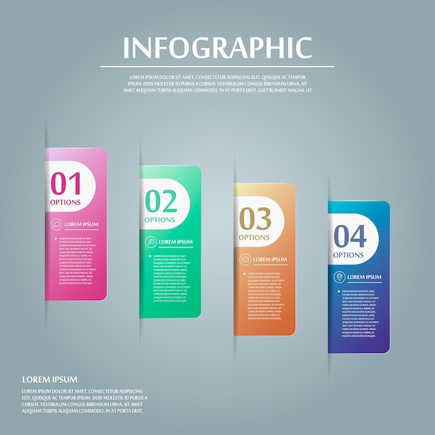 Contemporary infographic design with colorful labels elements Premium Vector