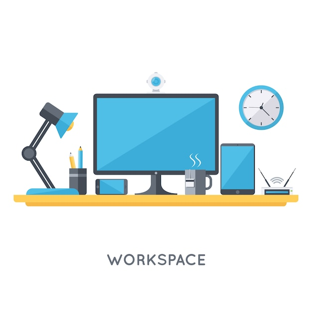 Contemporary workspace organization Free Vector