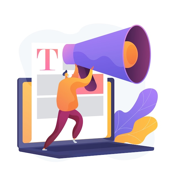 콘텐츠 및 매스 미디어 마케팅. 카피 라이팅 인터넷 광고. 홍보 기사, 뉴스, 방송. 블로거, 확성기를 들고있는 사람. 무료 벡터