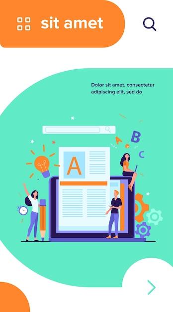 Концепция работы автора или писателя контента. блогер-фрилансер за ноутбуком пишет творческую статью, редактирует текст Бесплатные векторы