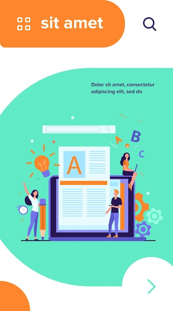 Concetto di lavoro di autore o scrittore di contenuti. blogger freelance al computer portatile che scrive articoli creativi, modifica del testo Vettore gratuito