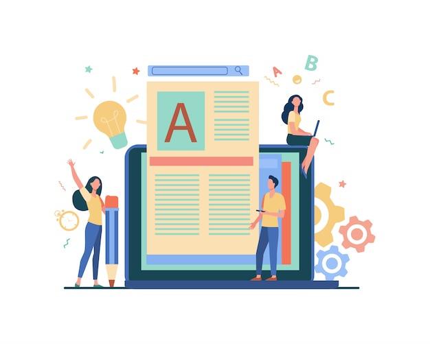 Concetto di lavoro di autore o scrittore di contenuti Vettore gratuito