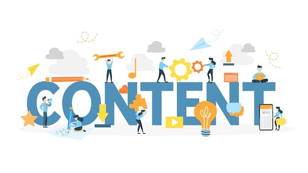 Content concept illustration. idea of new information and creativity. Premium Vector