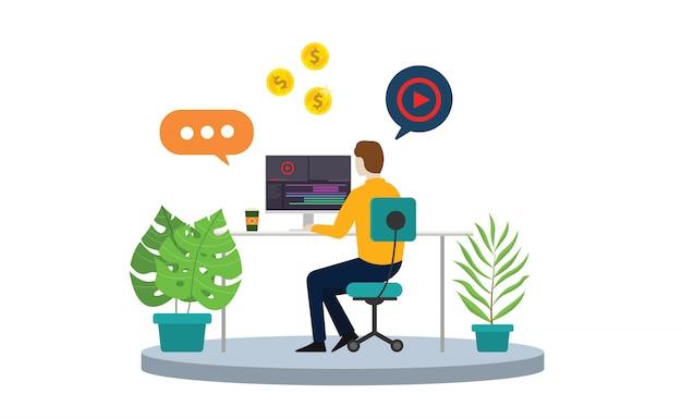 Content creator or video editor freelancer Premium Vector
