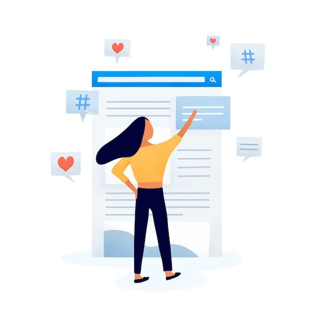 Editor di contenuti che modifica il vettore del feed Vettore gratuito