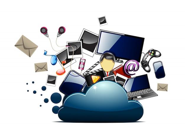 Content inside cloud folder Premium Vector