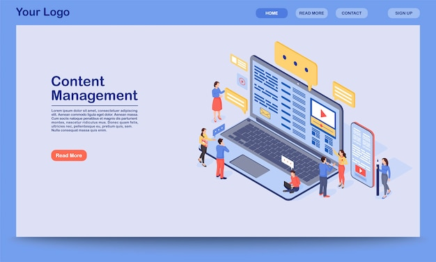 Content management landing page  template. digital inbound marketing website interface idea with  illustration. smm, media advertising homepage layout. web , webpage cartoon concept Premium Vector
