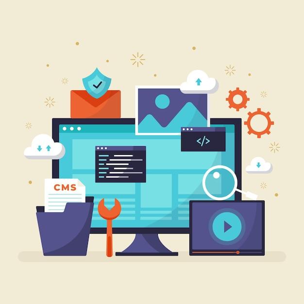 コンテンツ管理システムのコンセプトフラットデザイン 無料ベクター