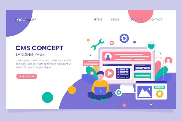 Content management system flat design Free Vector