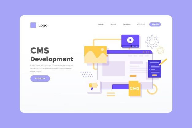 Content management system landing page Free Vector