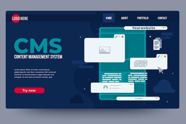 コンテンツ管理システムのwebテンプレート Premiumベクター