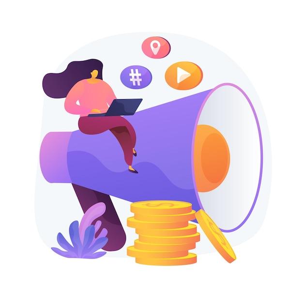 Content marketing. copywriting, blogging, scrittura creativa. personaggio dei cartoni animati femminile che si siede sul megafono. smm, elemento di design piatto promozionale di internet. Vettore gratuito